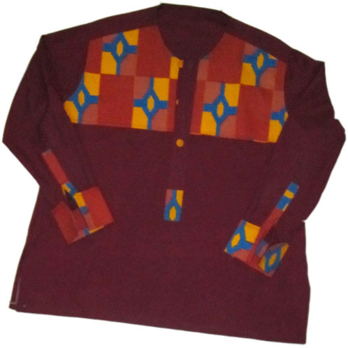 #12 Maroon, long sleve colorful patterned print shirt