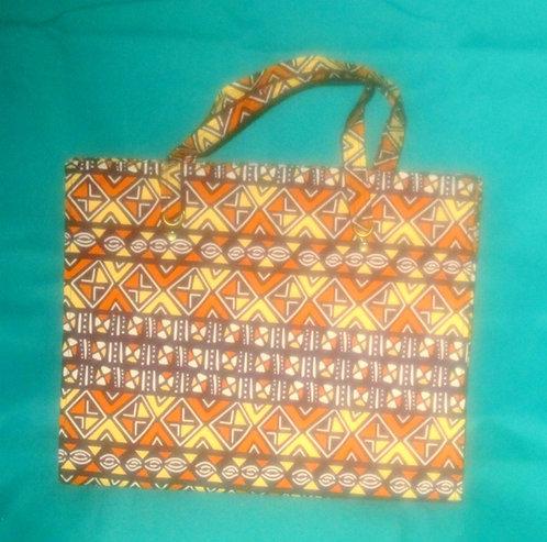 Ghanaian Purse - Yellow, Brown Pattern