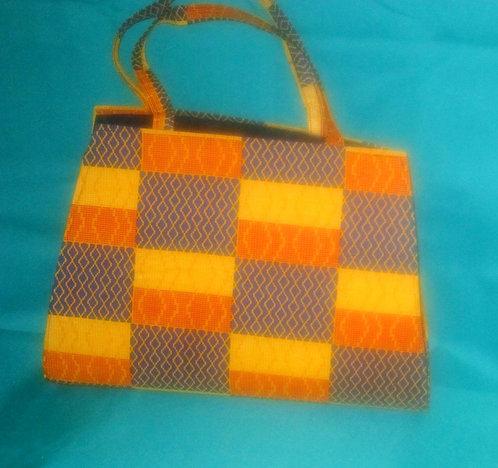 Ghanaian Purse - Blue, Yellow, Gold Pattern
