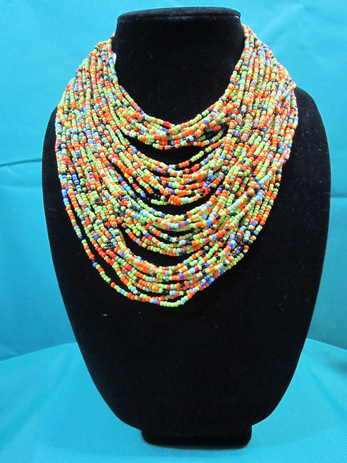 Multi–colored green, orange and blue Necklace