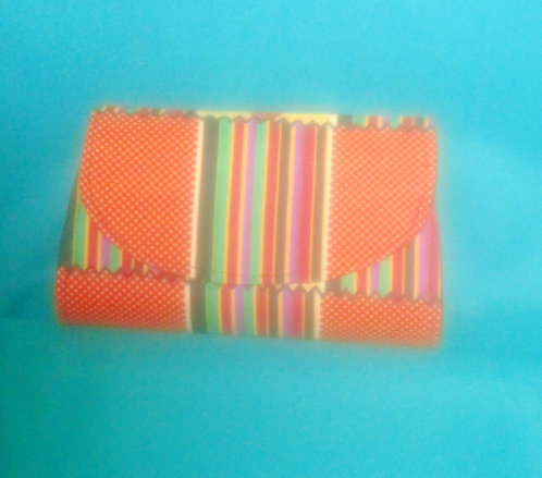 Ghanaian Clutch purses: Multi colored orange, red, green
