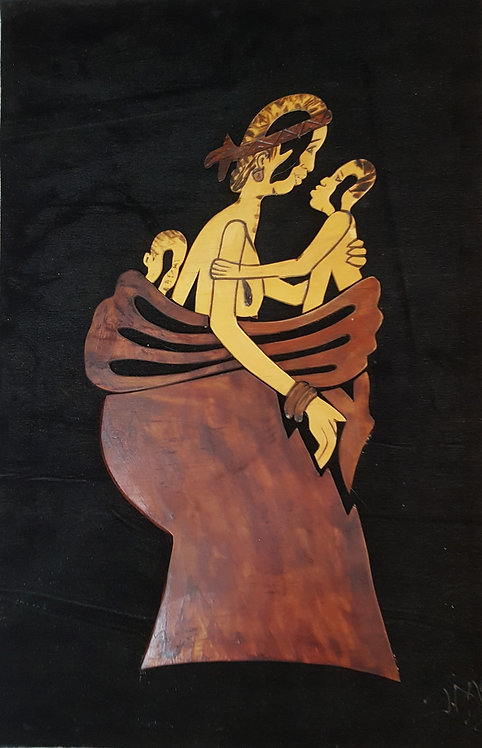 Wood Carvings on Felt - Mom and Babe by JMC