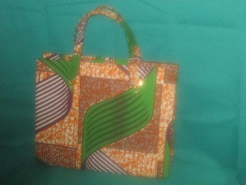 Ghanaian Purse - Green, Brown, black pattern fabric