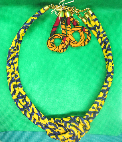 Cord and cloth dark blue & yellow Necklace & Earring set