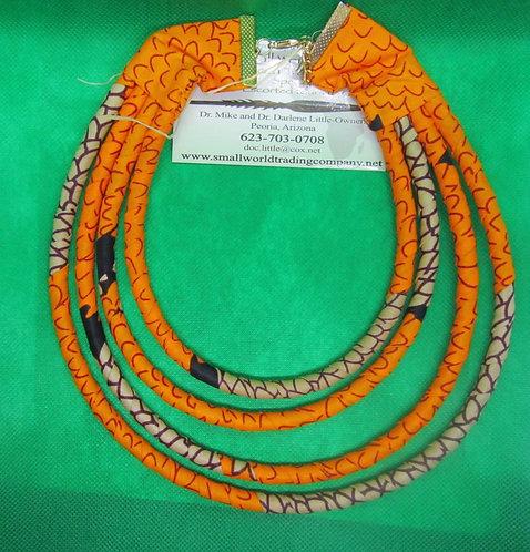 Orange & brown cord & fabric Necklace