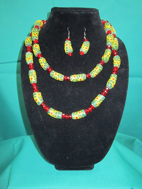 Double strand, trade bead and glass Necklace and earring set