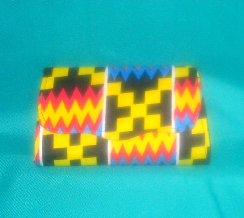 Ghanaian Clutch purses: Multi colored red, yellow, black