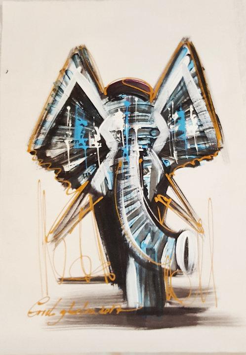 Original Acrylics - Elephant By Coneleghalia