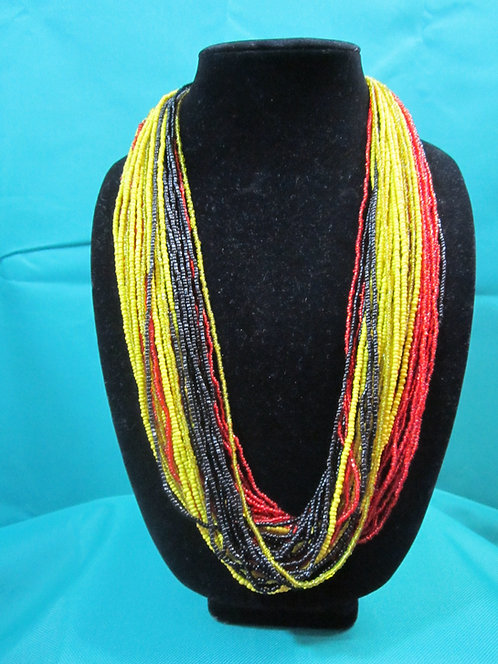 Multi–color strand (red, yellow, black) beaded Necklace