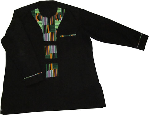#18 Black long sleve shirt with green patterned designed