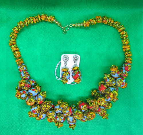 Blue, gold, red recycled glass bead Necklace and Earring set