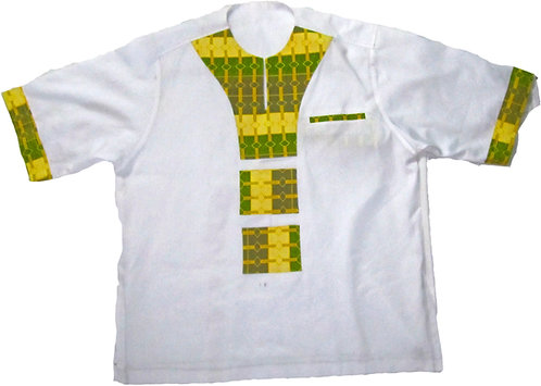 #06 Crisp white and green paterned african print shirt