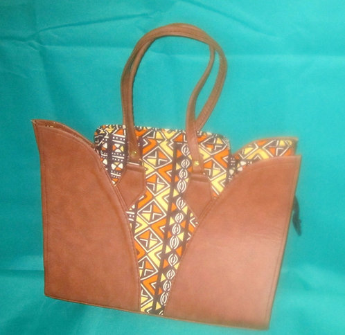 Ghanaian Purse - Brown leather with fabric inserts