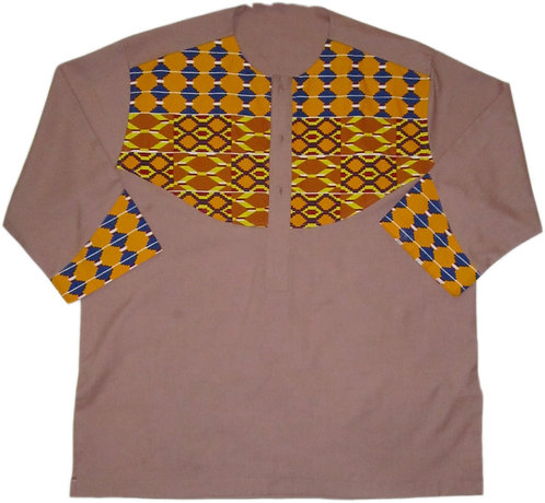 2X Tan shirt with blue and gold patterned african print design