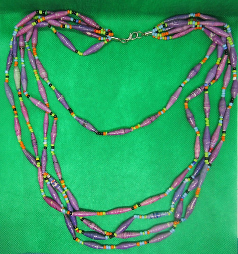 Lavender & purple paper bead Multi-strand necklace