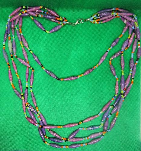 Lavender & purple paper bead Multi-strand necklace