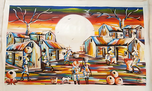 Original Acrylics - Village Life By Nana