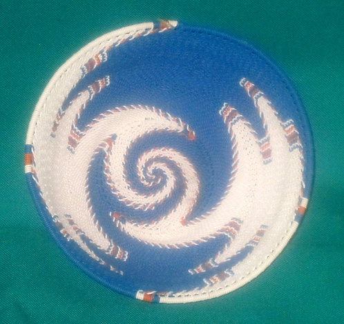 Zulu Telephone wire Bowls - Blue, white & orange