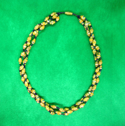 Yellow & blue paper bead Necklace