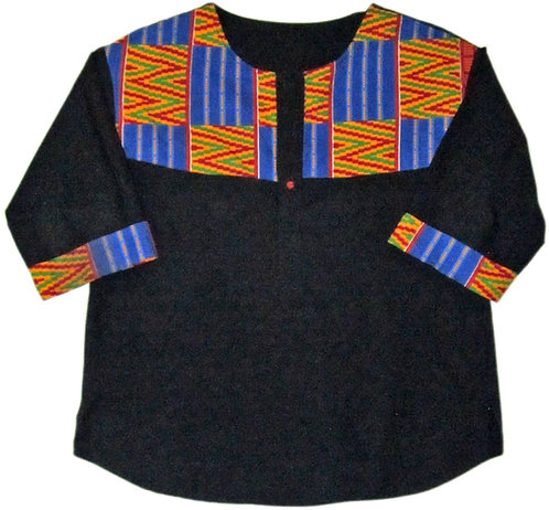 2X  Black shirt with colorful blue and orange print