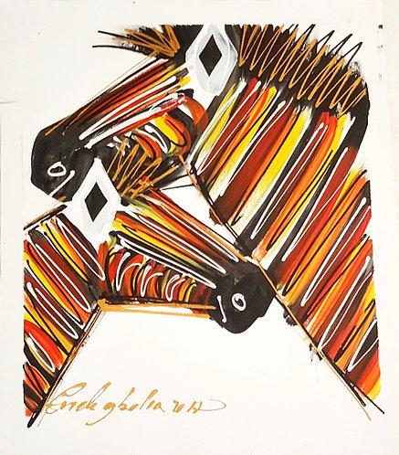 Original Acrylics - Zebras  By Coneleghalia