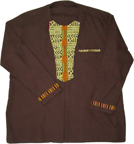 2X Brown shirt, long sleve with traditional print accents