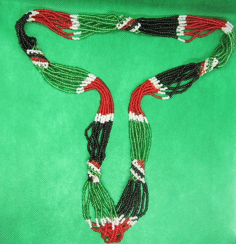 Rasta colored, red, green, black & white beaded Necklace