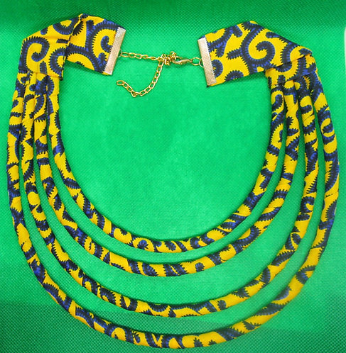 Cord and cloth dark blue & yellow Necklace