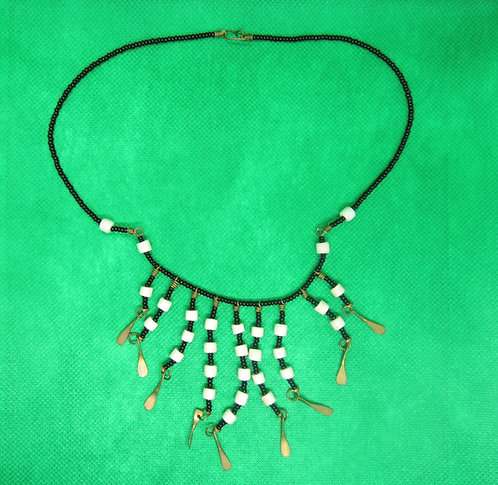 Black & ivory Bead & bone Necklace
