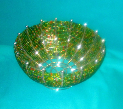 Kenyan  Silver metal and green  Beaded Basket