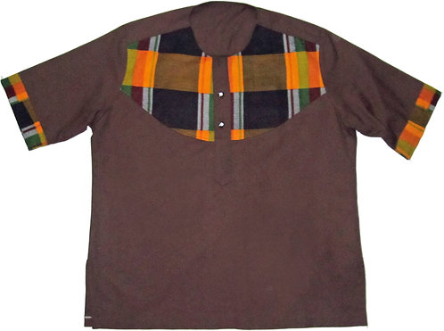 2X Brown slop over shirt with african print design