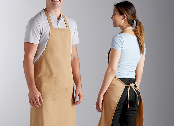 "Khaki Standard Bib Apron with 2 Pockets - 34""L x 30""W"