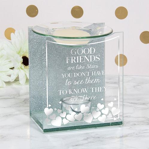 Sentiments Glass Oil Burner - Good Friends