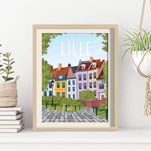 Affiche Sacrée Lilloise Lille Place Gillleson 30 x 40 cm