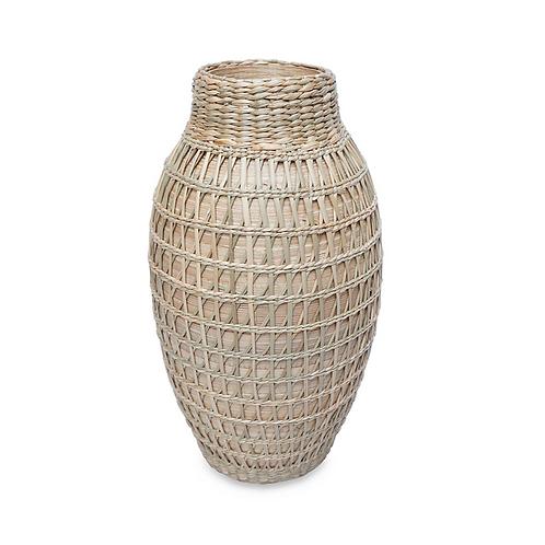 Vase en bambou et paille