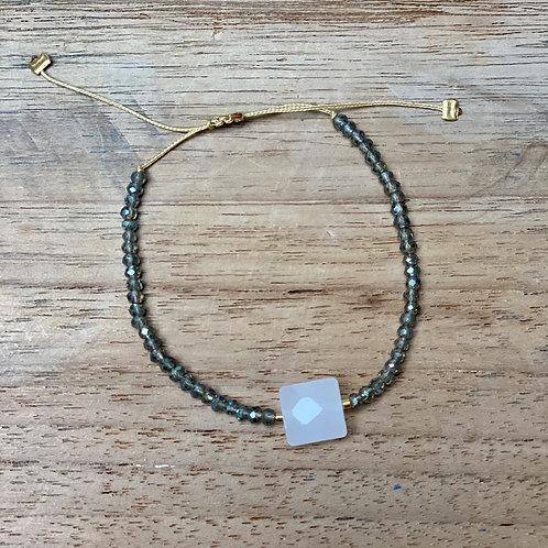 Bracelet perles fines – Vert d'eau et blanc