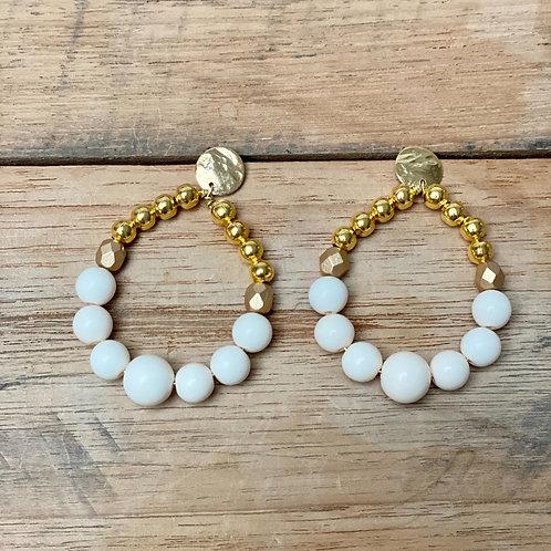 Boucles d'Oreilles BOHO – ivoire et or