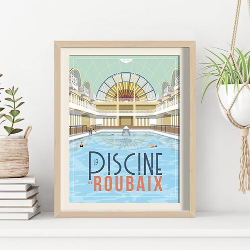 Affiche Sacrée Lilloise La Piscine Roubaix 30 x 40 cm