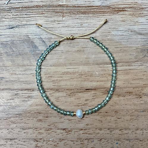 Bracelet perles fines – Vert d'eau et ivoire