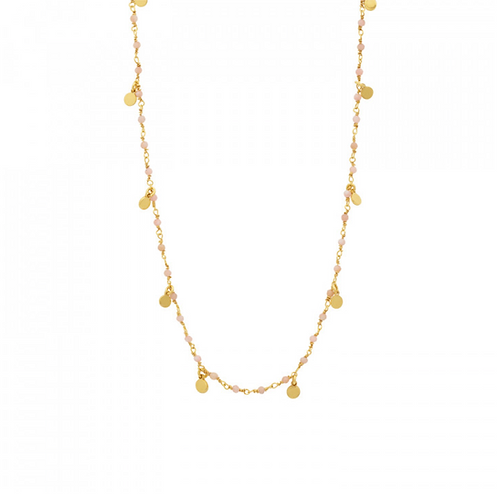 Collier Inde Pampilles Opale rose UNE A UNE