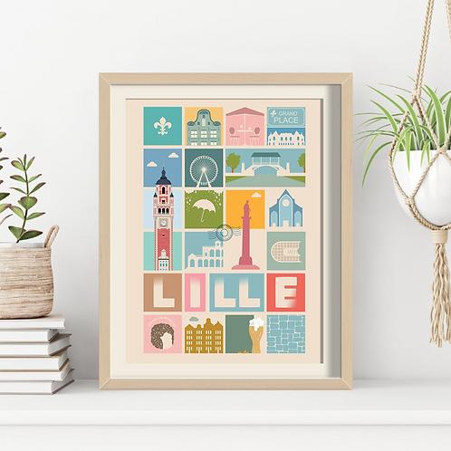 Affiche Sacrée Lilloise Lille ma Ville 6 - 30 x 40 cm