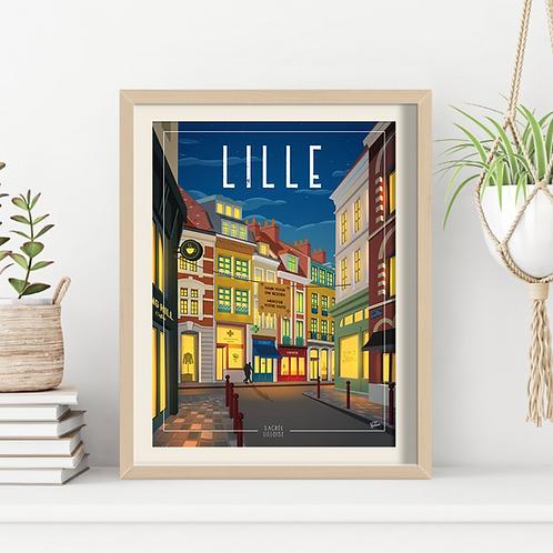 Affiche Sacrée Lilloise Place des Patiniers Nuit - 30 x 40 cm