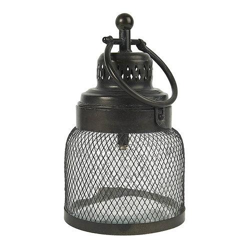 Lanterne LED verre et grille noir