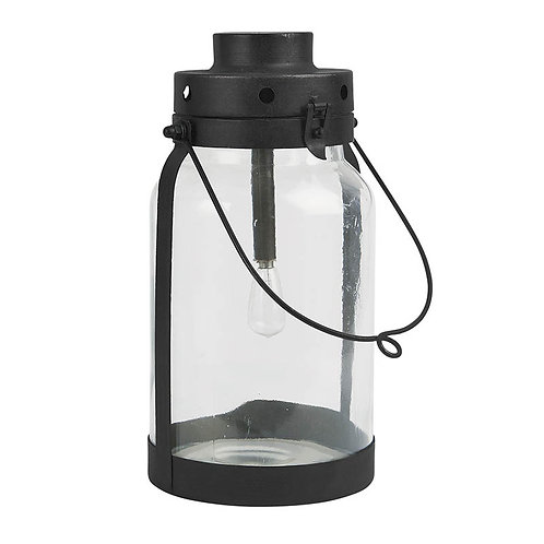 Lanterne LED verre et métal noir
