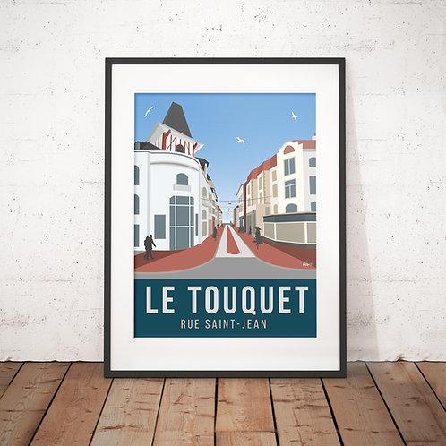 Affiche Wim' Le Touquet rue Saint Jean 30x40 cm