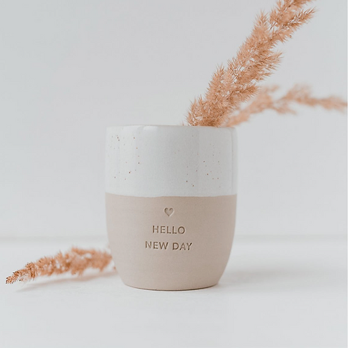 Mug Hello New Day en céramique EULENSCHNITT