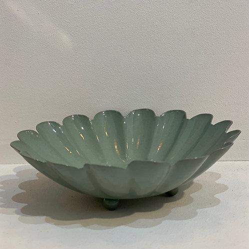 Coupelle métallique fleur vert sauge