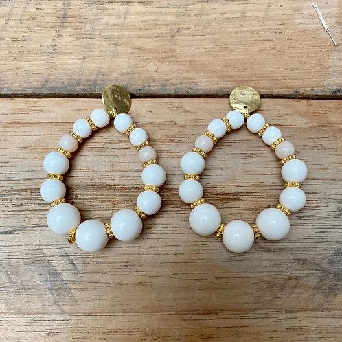 Boucles d'Oreilles BOHO – ivoire et nude