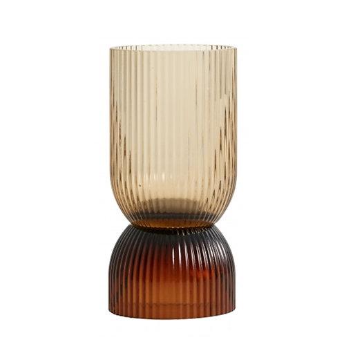 Petit vase bougeoir marron