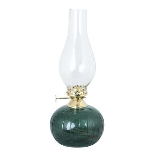 Lampe à huile verre vert Vintage